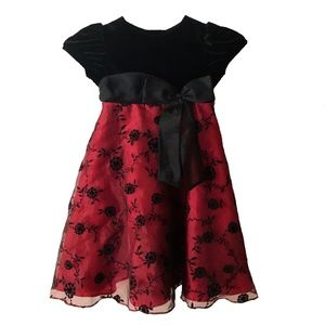 Rare Editions Girl's Black and Red Dress Size 5